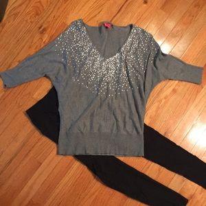 Gray Elle sequin sweater- XS